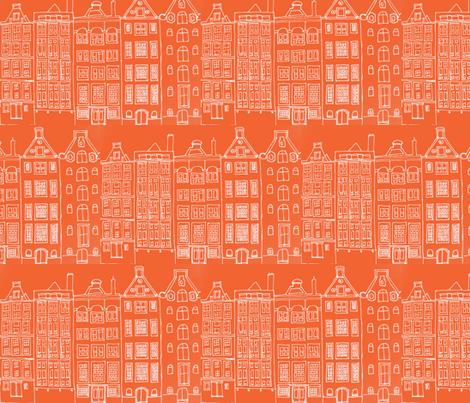 DutchHouses white on orange fabric by blue_jacaranda on Spoonflower - custom fabric