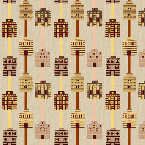 Minoan house stripes on bone linen weave fabric by su_g on Spoonflower - custom fabric
