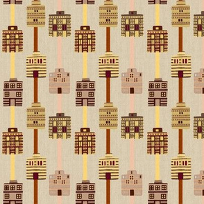 Minoan house stripes on bone linen weave