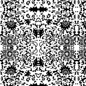 Flower Damask B&W