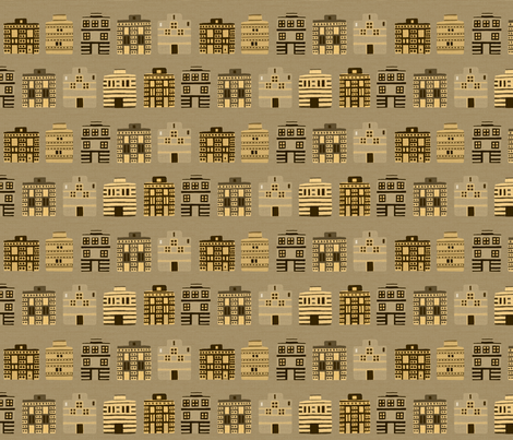 Stark Minoan houses on linen weave by Su_G fabric by su_g on Spoonflower - custom fabric