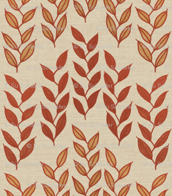 Minoan grasses on bone linen weave by Su_G