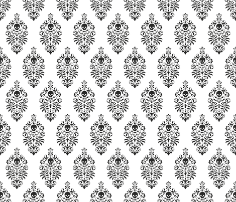 Skull Damask - black on white fabric by edenki on Spoonflower - custom fabric