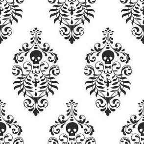 Skull Damask - black on white