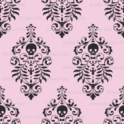 Skull Damask Black On Pink Fabric Edenki Spoonflower