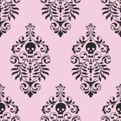 Skull Damask - black on pink