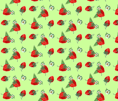 strawberries_lime fabric by sylvine on Spoonflower - custom fabric