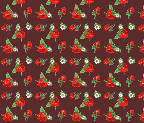 strawberries_chocolate fabric by sylvine on Spoonflower - custom fabric