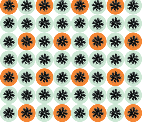 Pomengranate Goes Retro Orange fabric by smuk on Spoonflower - custom fabric