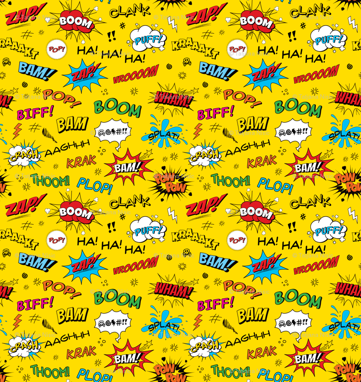 comic adventures sound effects on yellow fabric jazzypatterns