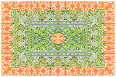 persian knot tea towel orange