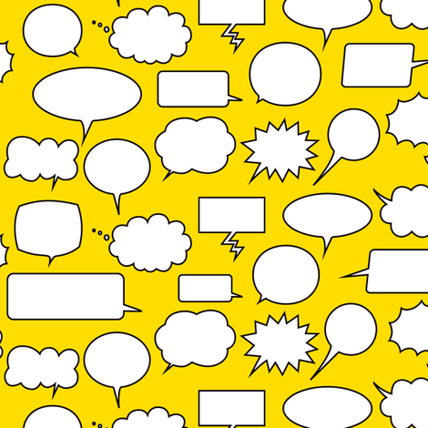 Comic Adventures: Speech Balloons on yellow fabric by jazzypatterns on Spoonflower - custom fabric