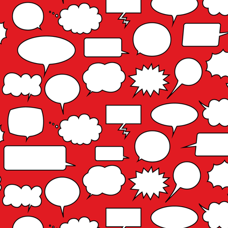 Comic Adventures: Speech Balloons on red fabric by jazzypatterns on Spoonflower - custom fabric