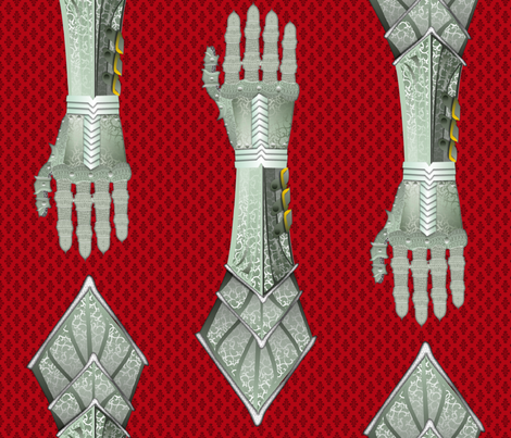 Gauntlets - silver and red fabric by glimmericks on Spoonflower - custom fabric