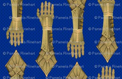 Gauntlets - golden and blue