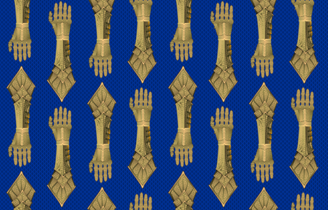 Gauntlets - golden and blue fabric by glimmericks on Spoonflower - custom fabric