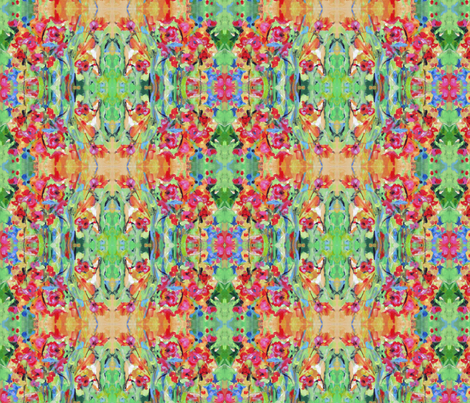 Bloom - Green, Pink, Orange, Yellow & Blue fabric by quintessential_fine_art_fabrics on Spoonflower - custom fabric