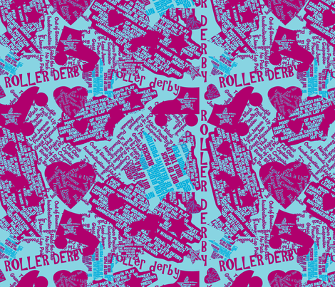 Do You Speak Roller Derby? - Blue/Fuschia fabric by owlandchickadee on Spoonflower - custom fabric