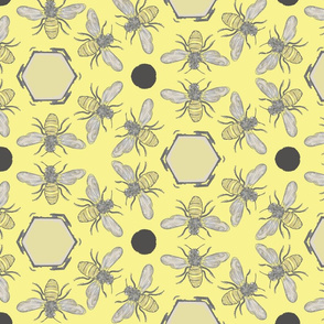 Beneficial Bumblebees & Hexagonal Honeycombs - Lemon