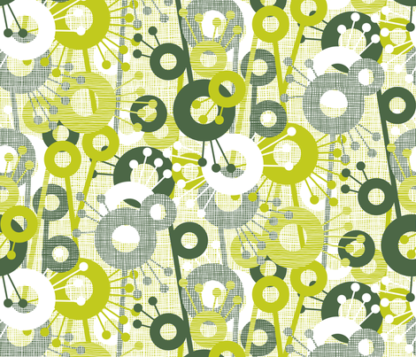 Sticks & Spots, Stripes & Dots: Forest Lime fabric by sammyk on Spoonflower - custom fabric