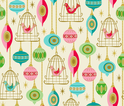 Baubles and birds in cages fabric by retrorudolphs on Spoonflower - custom fabric