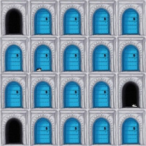 Who's at the blue doors?