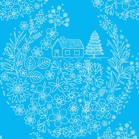 Flower Hunter Cottage - Seahorse Blue fabric by de-ann_black on Spoonflower - custom fabric