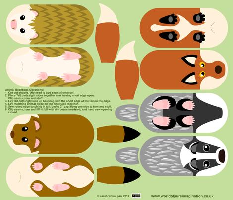 Woodland Animal Beanbags fabric by shiro on Spoonflower - custom fabric
