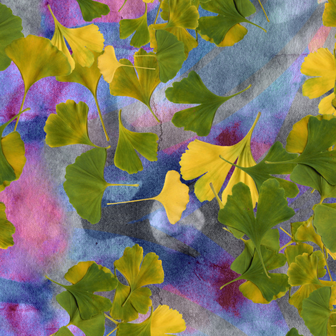 Ginkgo Pinko fabric by feebeedee on Spoonflower - custom fabric