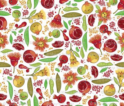 Kawaii Pomegranate Family