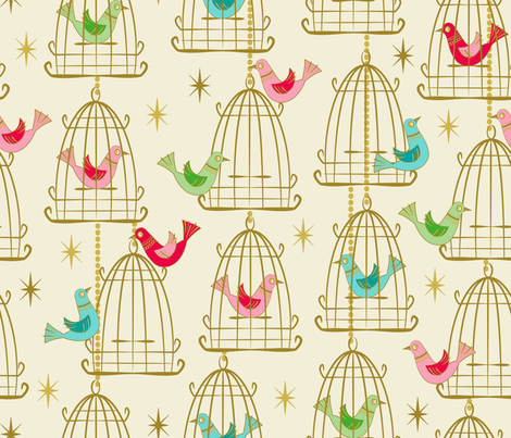 Vintage Bird Cages and Stars fabric by retrorudolphs on Spoonflower - custom fabric