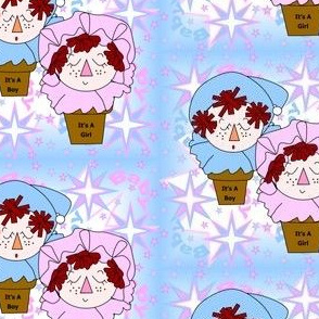 Baby Boy and Girl Terra Heads With Stars Fabric