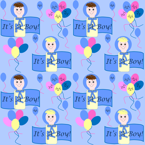 It's A Boy! Bunting Pair With Balloons Fabric fabric by lworiginals on Spoonflower - custom fabric