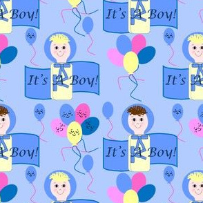 It's A Boy! Bunting Pair With Balloons Fabric