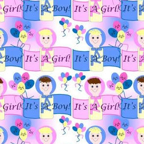 It's A Boy and Girl Swaddling Group With Balloons Fabric