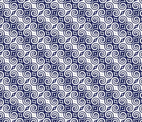 Upton Spiral navy fabric by flyingfish on Spoonflower - custom fabric