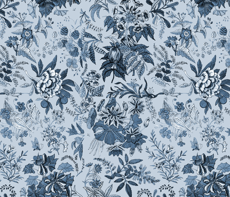 Becky Sharp Has The Blues fabric by peacoquettedesigns on Spoonflower - custom fabric