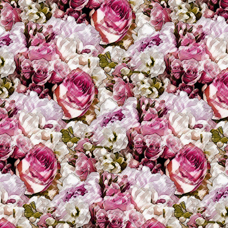 Lush Garden - Rose fabric by inscribed_here on Spoonflower - custom fabric