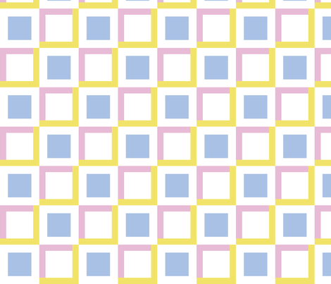 squares in squares - pink yellow blue fabric by gingerme on Spoonflower - custom fabric