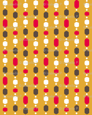 Retro Kitchen Gold and Red Bead Curtain