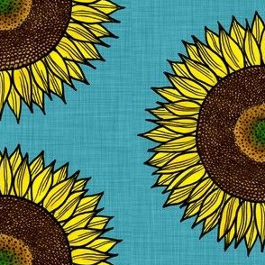 Sunflower on linen look