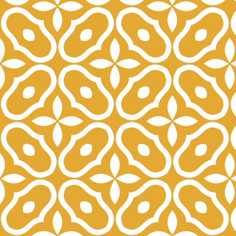Mosaic - Retro Kitchen Gold fabric by inscribed_here on Spoonflower - custom fabric