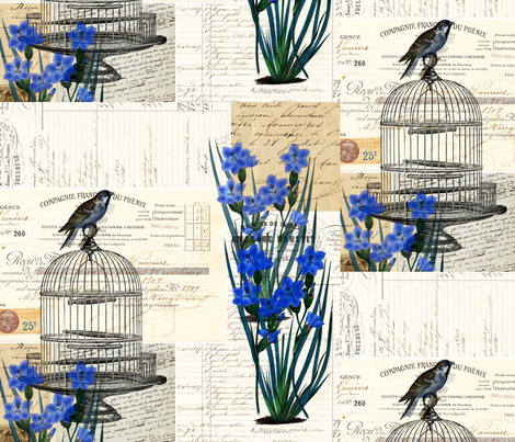 French Birdcage Blue Flowers fabric by 13moons_design on Spoonflower - custom fabric