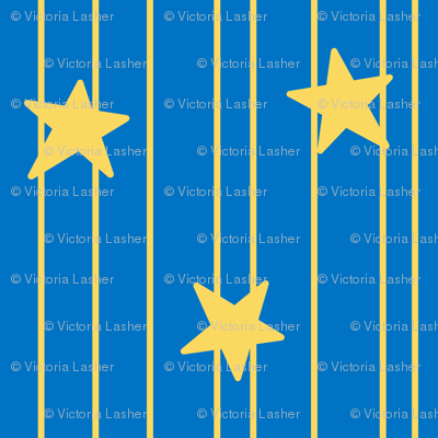 Gold stars and stripes - Royal blue