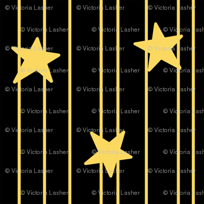 Gold stars and stripes - black
