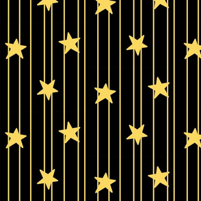 Gold stars and stripes - black