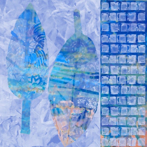 Large Leaf Abstract Royal Blue