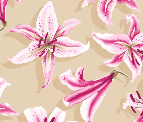Oriental Lily fabric by neatdesigns on Spoonflower - custom fabric