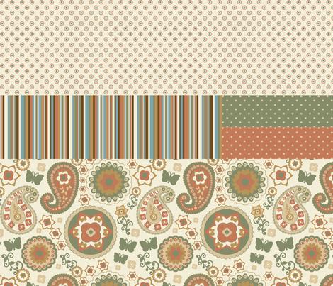 Retro Garden Naturals Combo 2 fabric by stitchwerxdesigns on Spoonflower - custom fabric