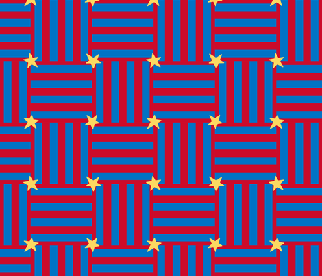 stars_and_stripes_parquet_red_and_blue_gold_stars_150 fabric by victorialasher on Spoonflower - custom fabric
